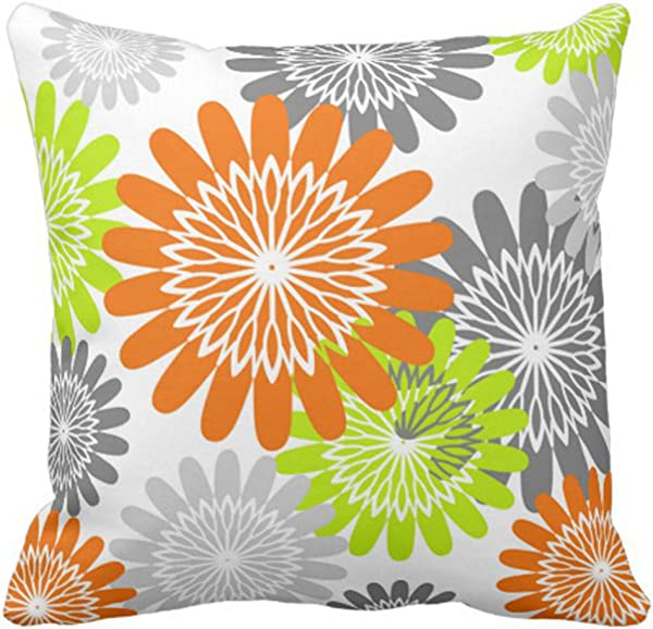 Emvency Throw Pillow Cover Orange Girly Flower Stencils Green Lime Decorative Pillow Case Home Decor Square 16 X 16 Inch Pillowcase
