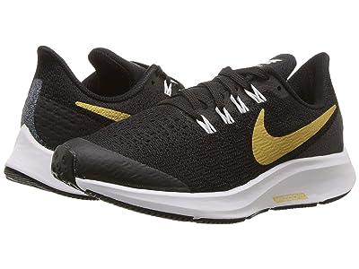 Nike Kids Air Zoom Pegasus 35 SH (Little Kid/Big Kid) (Black/Metallic Gold/White) Girls Shoes