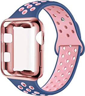 ADWLOF Compatible with Apple Watch Band with Case 42mm, Silicone Replacement Strap with Screen Protector Cover for Wristband for iWatch Series 3/2/1, Nike+, Sport, Edition,S/M,M/L,Midnightblue Pink