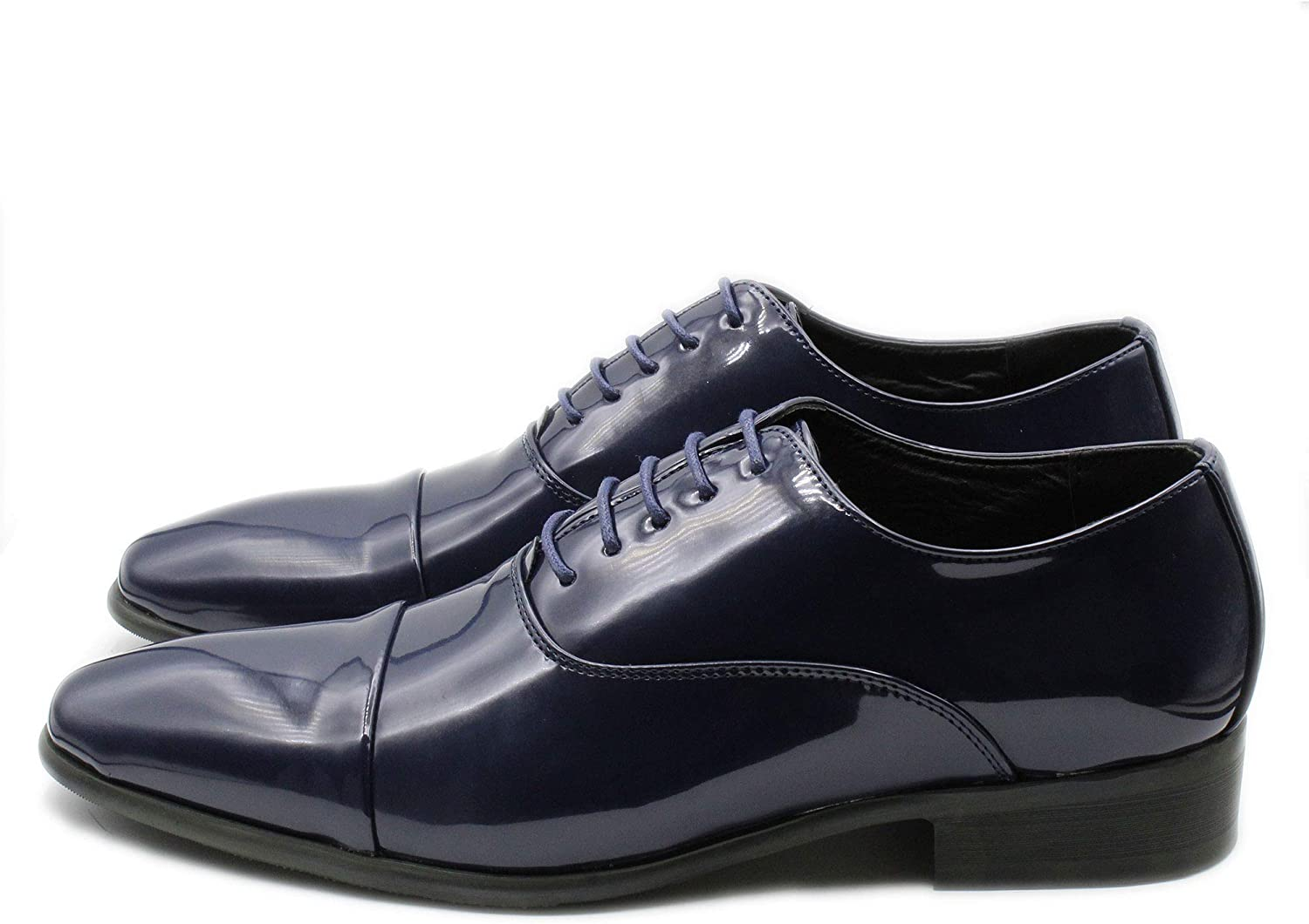 Mens shoes Elegant Leather Polished Smooth bluee lace-up shoes Oxford Classic shoes with Glossy Ceremony Elegant Solid color 40 41 42 43 44 45