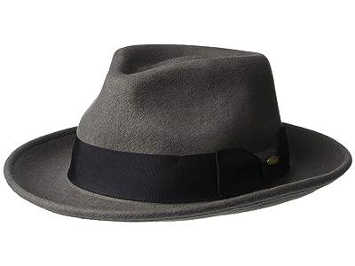 SCALA Wool Felt Fedora with Grosgrain (Grey) Caps