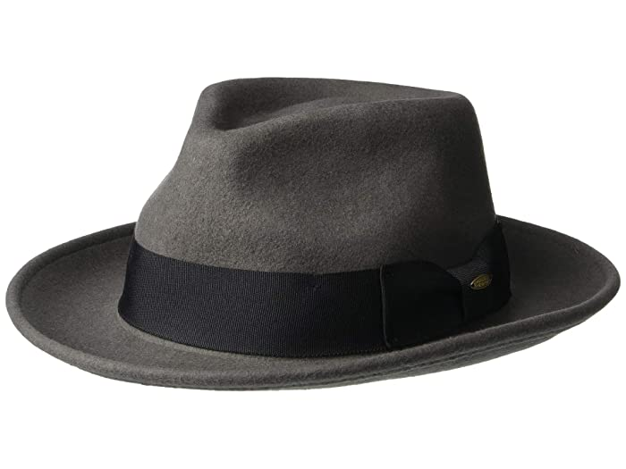 SCALA Wool Felt Fedora with Grosgrain (Grey) Caps