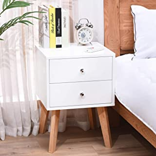 TaoHFE White Nightstand Bedroom Night Stand End Table Side Table Coffee Table with 2 Drawers, Wood Nightstand for Bedroom/Living Room/Study Room End Tables Set of 1, Easy Assembly