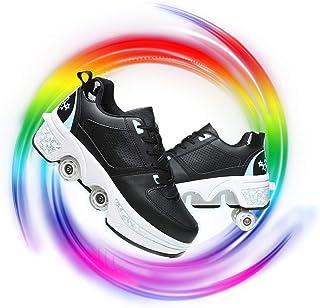 FFKL Patins /À roulettes pour Enfants Unisexe avec 2 Rouleaux Baskets De Skateboard /À Bouton R/églable Chaussures De Sport pour Les Jeunes Gar/çons /À Courir