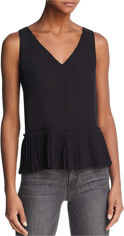 Rebecca Taylor Womens Silk Tank Top, Black, 2