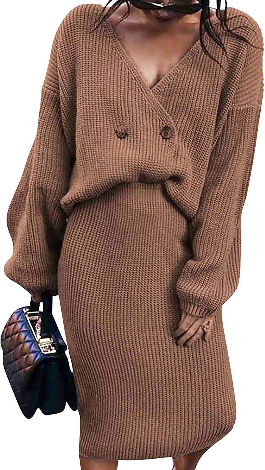 Womens 2 Piece Outfits Sexy Sweater Set Deep V Neck Cable Knit Tops + Bodycon Skirt Dress Fall Winter Set