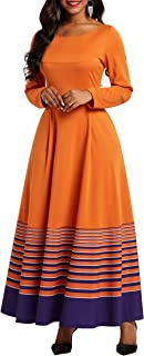 VERWIN Mid-Calf Long Sleeve Pocket Stripe Women's Dresses A-Line Pullover Party Dress