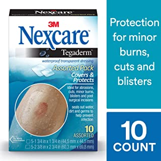 Nexcare Tegaderm Waterproof Transparent Dressing, Dirtproof, 2-3/8 Inches X 2-3/4 Inches, 10 Count