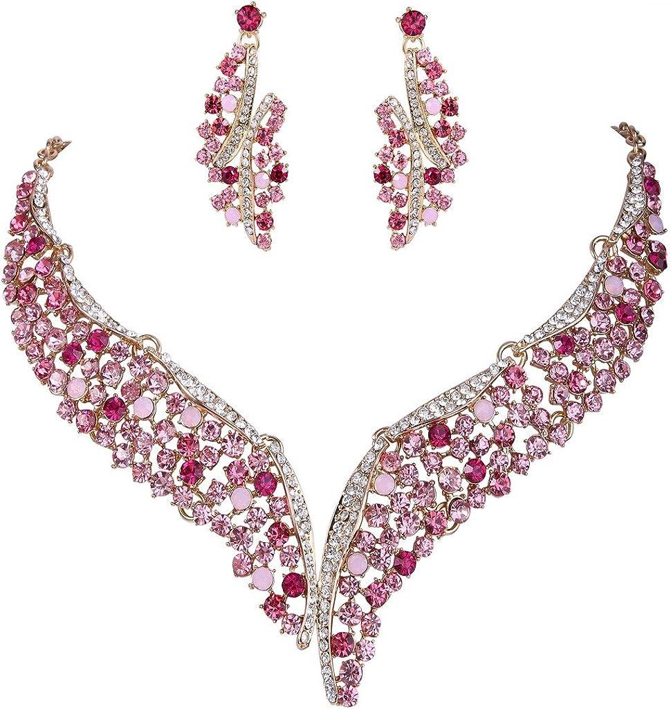 EVER FAITH Austrian Crystal Graceful Wing Flower Necklace Earrings Set