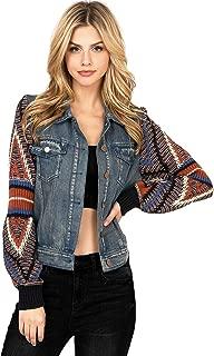 Women's Boho Sweater Sleeve Denim Jacket