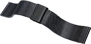 Davis B0812 -Bracelet Montre Mesh Maille Milanaise 24mm Acier Noir Ajustable