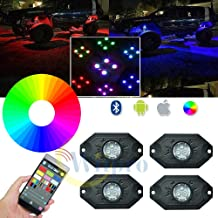 Wiipro LED RGB Rock Lights Kit - 4 Pods Multicolor Neon Underglow Lighting APP Bluetooth Control & Timing & Flashing & Music Mode for JEEP Off Road Truck Car ATV SUV Yacht Boat