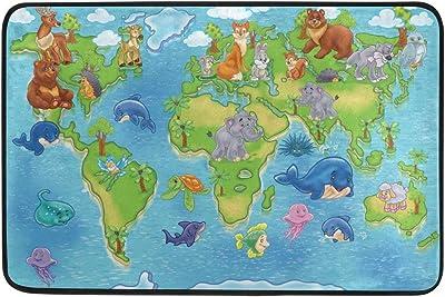 Wild Animals World Map Doormat, Entry Way Indoor Outdoor Door Rug with Non Slip Backing, (23.6 x 15.7-Inch)