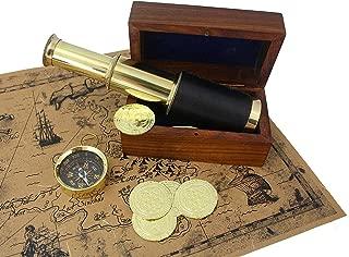 Well Pack Box Pirate Telescope Spyglass Brass 6 inch Nautical Metal Coins Treasure Map Scope Case