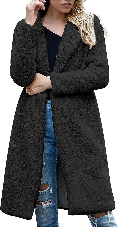Women's Fuzzy Fleece Lapel Open Front Long Cardigan Coat Faux Fur Warm Winter Outerwear Jackets