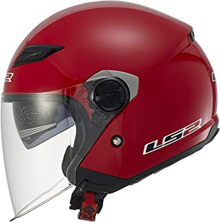 LS2 Helmets 569 Track Solid Open Face Motorcycle Helmet with Sunshield (Red, Medium)