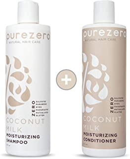 Purezero Coconut Milk Shampoo & Conditioner set - Intense Hydration & Increase Shine - Fight Dandruff & Frizz - Zero Sulfates, Parabens, Dyes - 100% Vegan & Cruelty Free - Great For Color Treated Hair