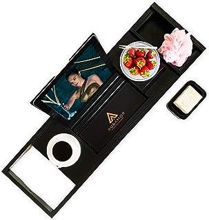 Auramor Bamboo Bathtub Tray Caddy w/Hair Turban (Black) Wide, Expandable Luxury Bath | Wine, Book, Tablet, Soap Holder | Non-Slip Rubber | Suction Cups