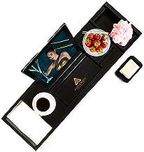 Auramor Bamboo Bathtub Tray Caddy w/Hair Turban (Black) Wide, Expandable Luxury Bath | Wine, Book, Tablet, Soap Holder | N...