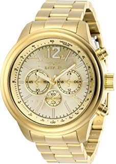 Invicta Men's Aviator Quartz Watch with Stainless Steel Strap, Gold, 22 (Model: 28898)