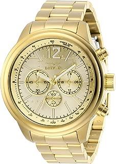 Men's Aviator Quartz Watch with Stainless Steel Strap, Gold, 22 (Model: 28898)