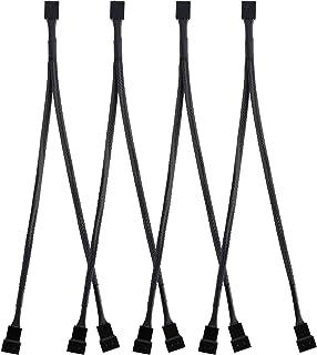 4 Paquetes de Cable Separador de Ventilador PWM en Forma de Y Cable de Alimentación de Ventilador PC Convertidor de 1 a 2, Trenzado Negro