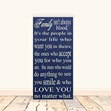 Family Isn't Always Blood Subway Art Wooden Wall Sign Plaque, Desk Wall Art Plaque Decoration, 10x20 inches