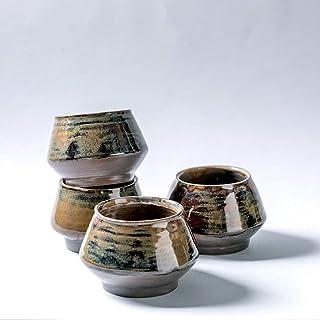 Taza de cerámica vintage rústica hecha a mano sin asa taza para café, té, leche, decoración del hogar, esmalte marrón gris...