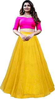 Nena Fashion Women's Net Semi-Stitched Lehenga Choli (Yellow | Free Size)