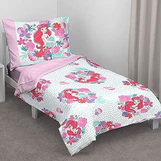 Disney Ariel Sea Garden 4 Piece Toddler Bed Set, Pink and Aqua/Orange/White
