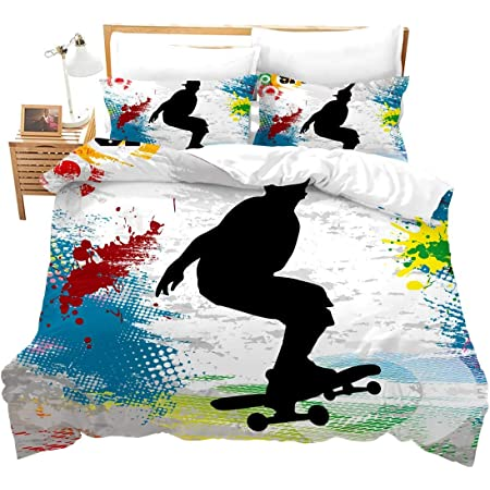 Feelyou Skateboard Bedding Set for Kids Boys Girls Teens Youth Skate Fast Sport Theme Bed Sheet Set Soft Luxury Microfiber Bed Cover Decor 2Pcs Fitted Sheet with 1 Pillowcase Twin