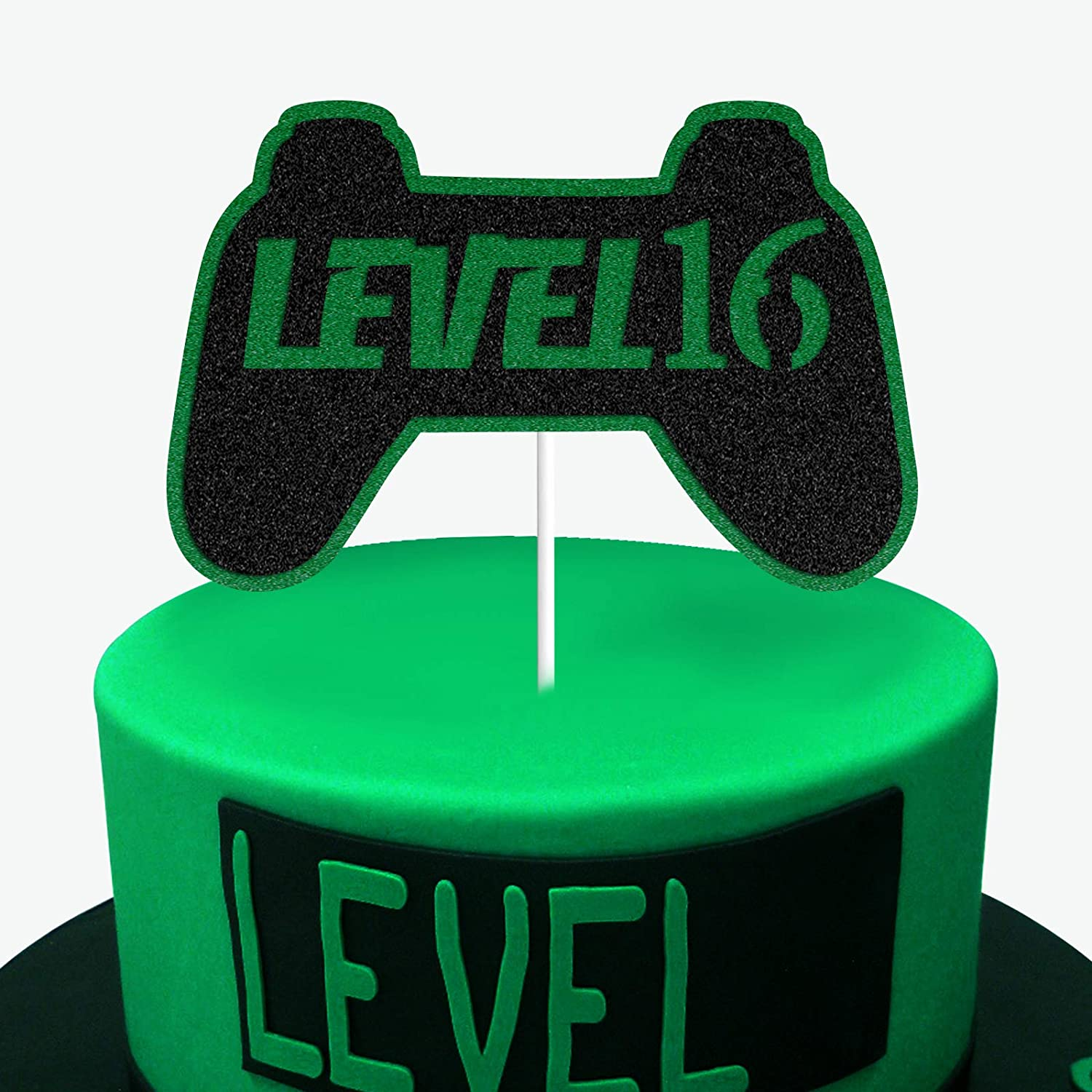Amazon Com Level 16 Cake Topper Gamepad Happy 16th Birthday Video Game Play Gaming Theme Birthday Party Supplies For Sixteen Years Old Boys Kids Health Personal Care