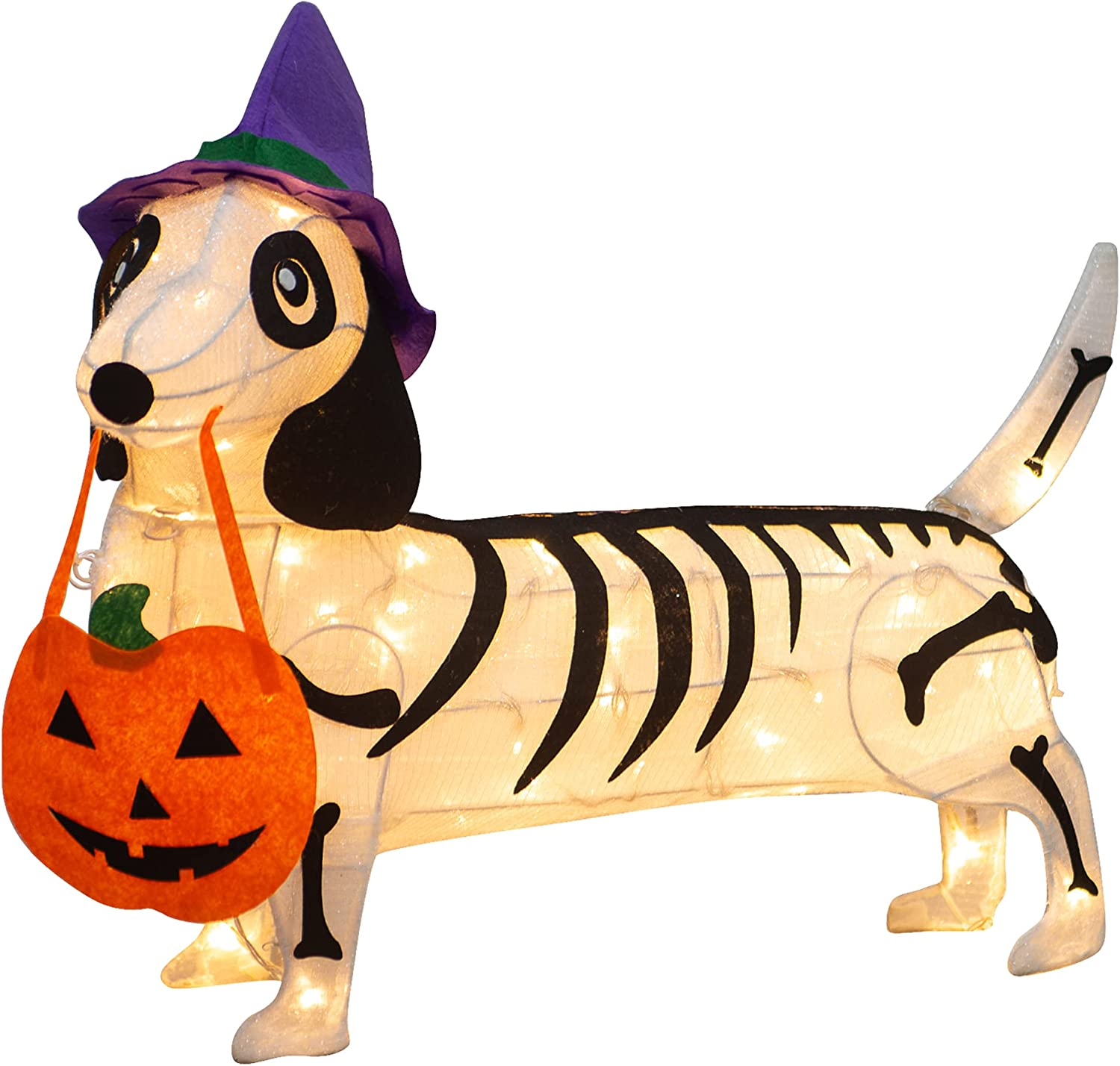 KITBONIS Pre-lit 25.5 Inches Long Halloween Skeleton Dog with Witch Hats with Twinkle Lights Indoor Outdoor Decorations Halloween Decorations Lights for Home Garden Party Yard Decor