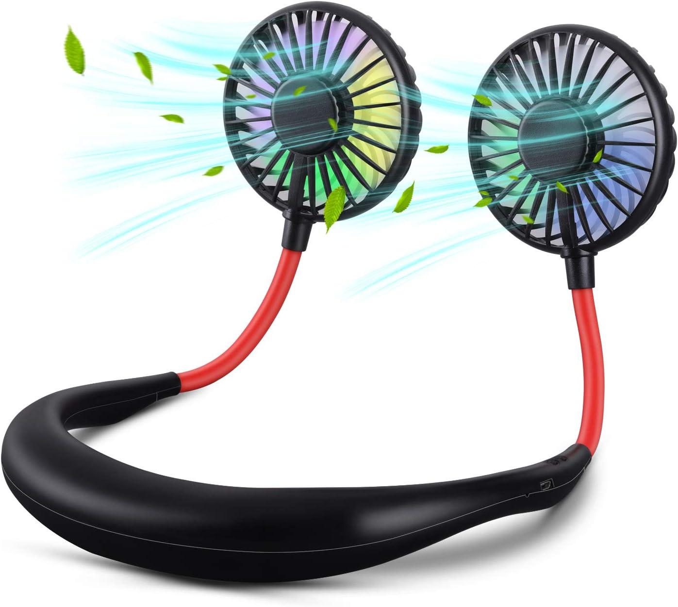 Neck Fan, XINBAOHONG Portable USB Rechargeable LED Fan Headphone Design Hand Free Personal Fan Wearable Cooler Fan with Dual Wind Head for Traveling Outdoor Office