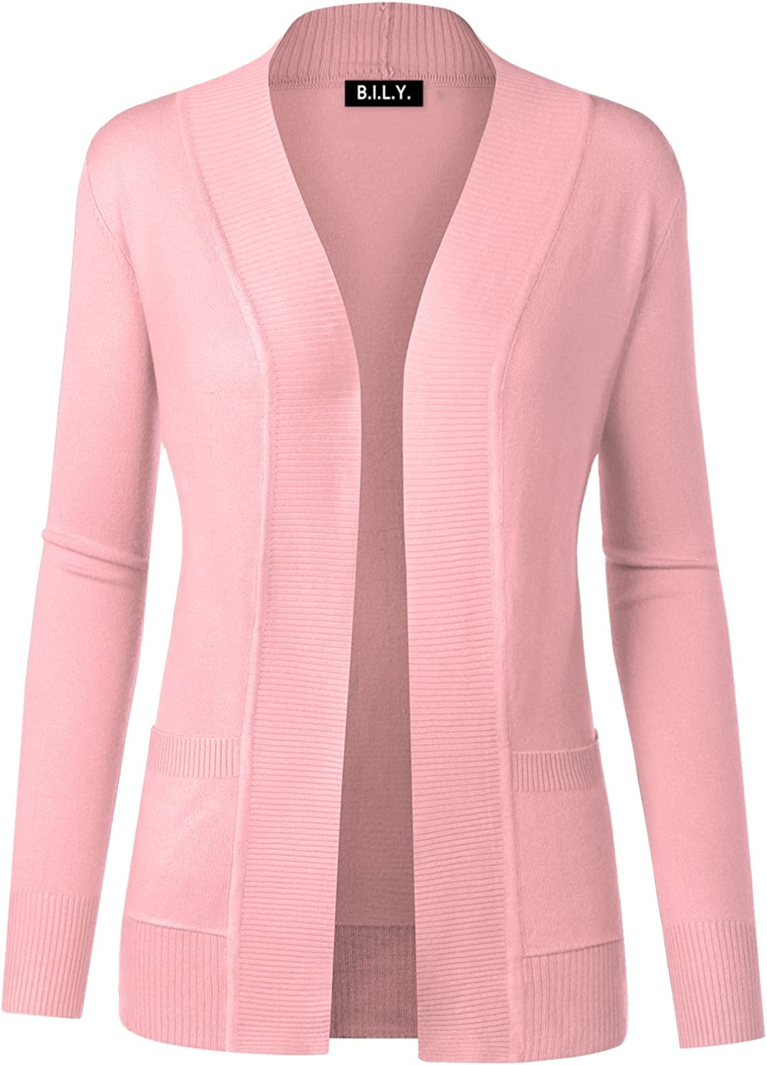 BH B.I.L.Y USA Women's Open Front Long Sleeve Classic Knit Cardigan Baby Pink Medium