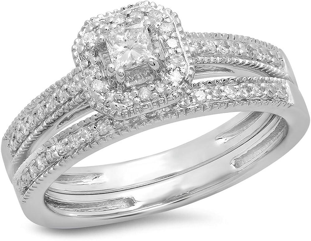 Dazzlingrock Collection 0.45 Carat (ctw) 14K Gold Princess & Round White Diamond Ladies Bridal Halo Engagement Ring Set 1/2 CT