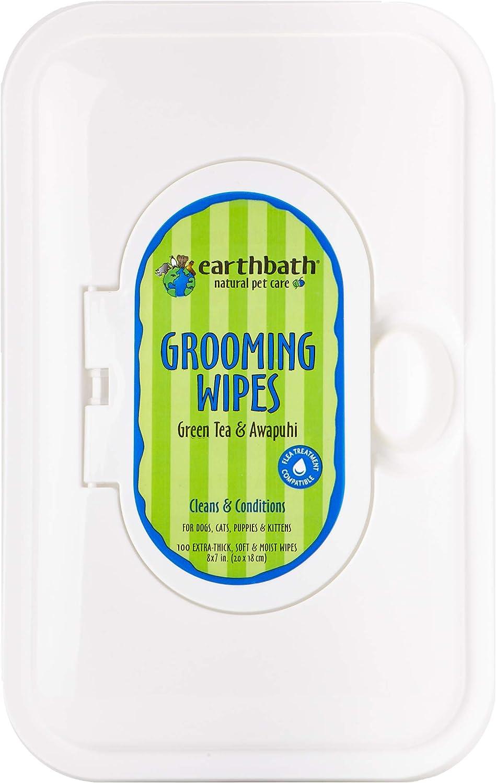 Earthbath Green Tea Dog Grooming Wipes, 2 Pack