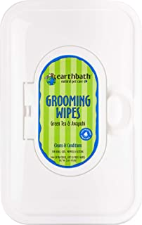 Earthbath Natural Grooming Wipes with Green Tea and Awapuhi Scent, White, 100Pcs