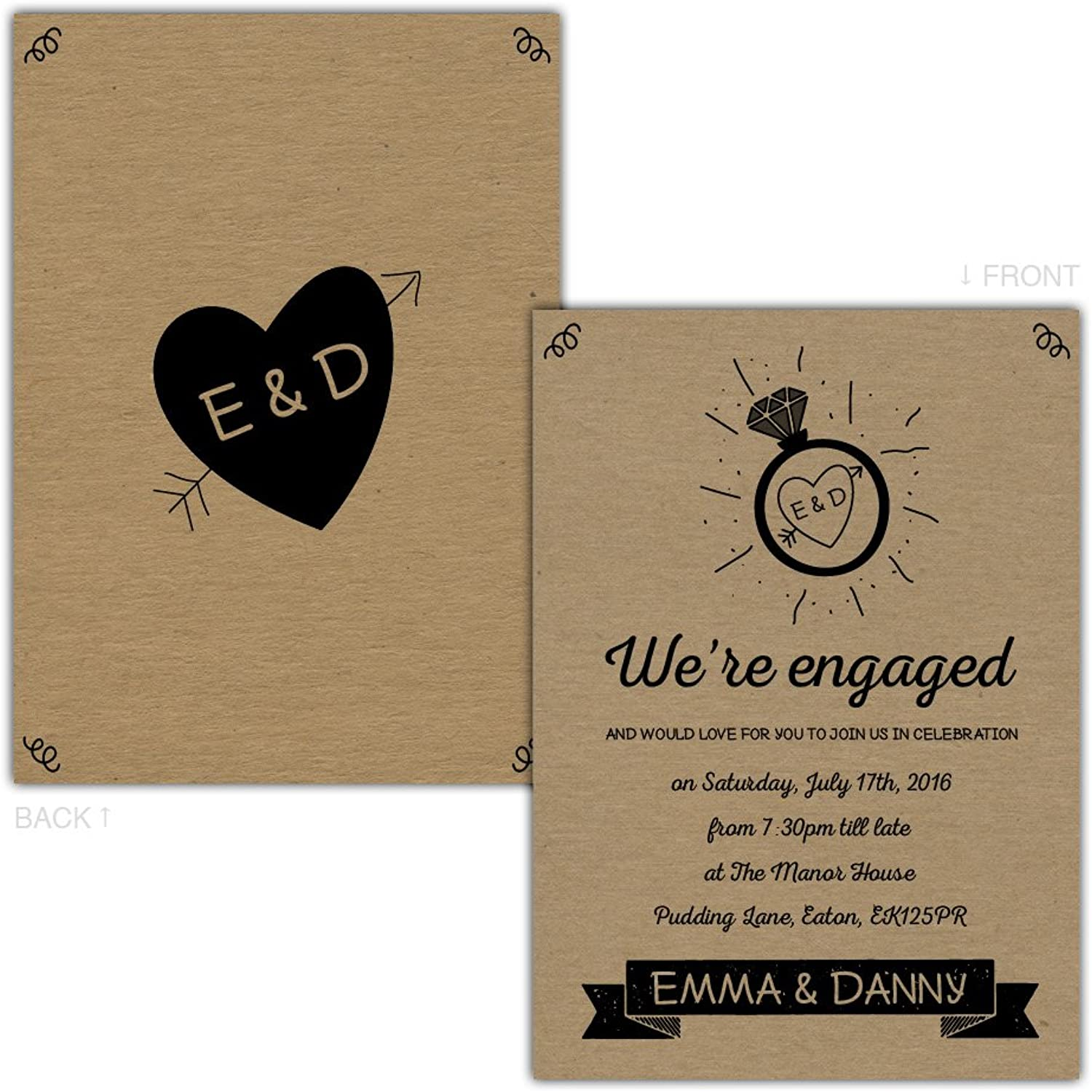 Made by Mika Personalised kraft engagement party invitations GLOWING RING & HEART FREE DRAFT & FREE KRAFT ENVELOPES (150, A5 double-sided Brown Kraft card)