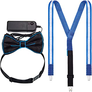 Light up Suspenders Blue LED Suspenders Bow Tie and Tie for Music Festival Halloween Costume Party Supply