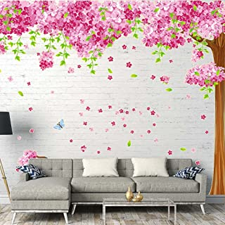 iwallsticker Giant 8683inch Removable Pink Cherry Blossom Wall Sticker Tree Wall Decal DIY Butterfly Wall Decorations Art Decor Stickers Murals Wallpaper for Nursery Room Living Room Corner