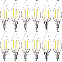 Luxrite 4W Vintage Candelabra LED Bulbs Dimmable, 400 Lumens, 5000K Bright White, LED Chandelier Light Bulbs 40W Equivalent, Flame Clear Glass, Filament LED Candle Bulb, UL Listed, E12 Base (12 Pack)