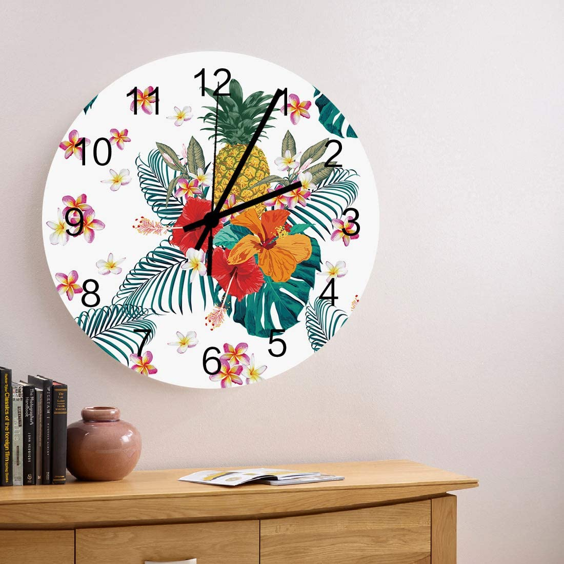 safety MuswannaA 12 Inch Silent Non-Ticking Round Wooden Red Clock Wall wholesale