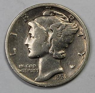 1931 S Silver Mercury Dime 10c Very Fine