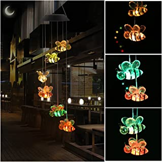 KUAHAIHINTERAL Wind Chime Outdoor Led Solar Powered Wind Chimes for Home/Party/Yard/Garden Decoration (Color Bee)