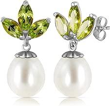 9.5 Carat 14K Solid White Gold Dangling Earrings pearl Peridot