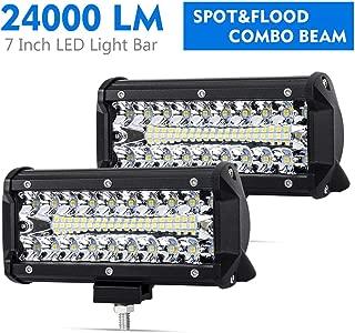 7 Inch LED Pods Spot Flood Combo Beam Liteway 24000 LM Triple Row Light Bar Off Road Driving Led Work Lights for UTV ATV Jeep Truck Boat Waterproof 2 Pack LED Light Bars