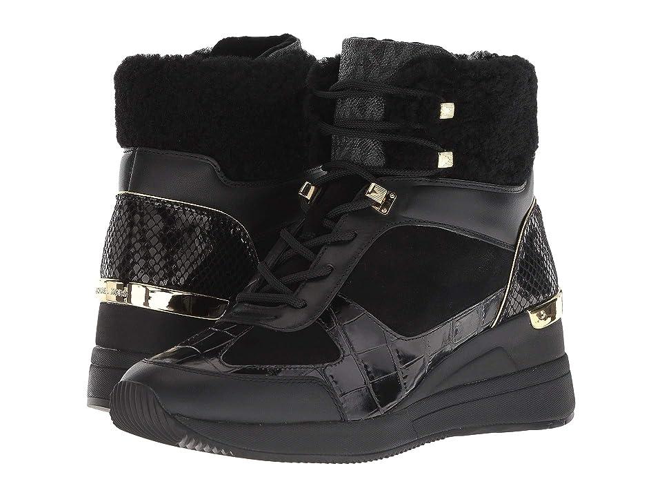 MICHAEL Michael Kors Liv Bootie (Black Sport Suede/Embossed Croc/Curly Shearling/Black Outsole) Women