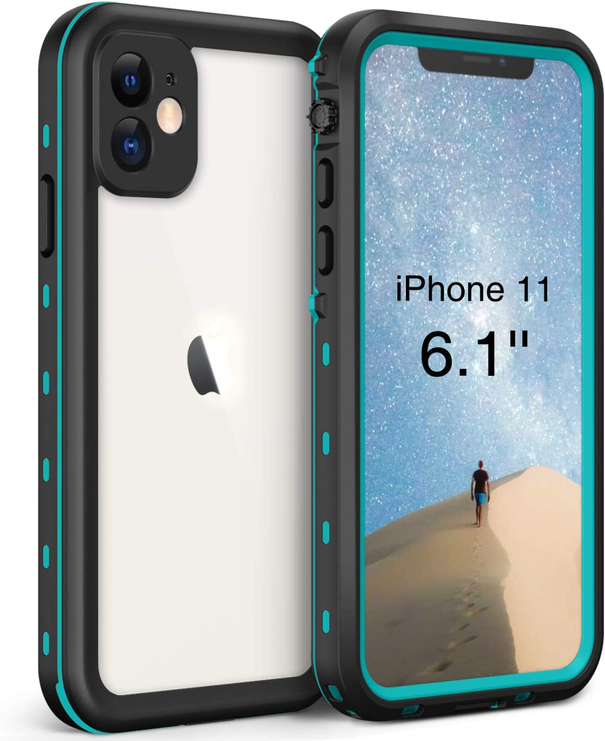 Waterproof Case for iPhone 11 (6.1 inch), Full Sealed IP68 Cover for Snowproof Dirtproof Shockproof Waterproof iPhone 11 Case, High Sensitive Touch Screen with Built-in Screen Protector (Aqua Blue)