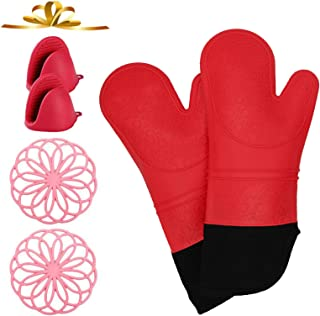 VWMYQ Extra Long Silicone Oven Mitts and Pot Holders Sets, Cooking Mittens Professional Heat Resistant with 2 Mini Pinch M...
